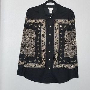 Soft Surroundings M black paisley print button up